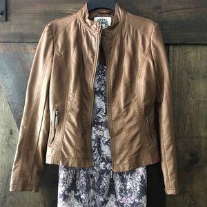 Jackets & Blazers - Vegan Leather Moto Jacket in Camel